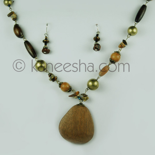 Bold Wooden Pendant and Earrings