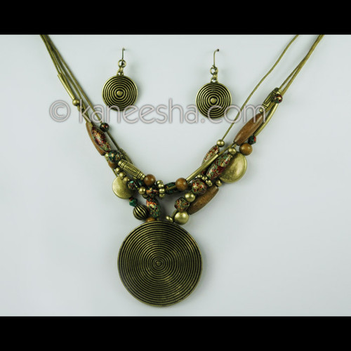 Brown Shade Wooden Beaded Necklace and Earrings