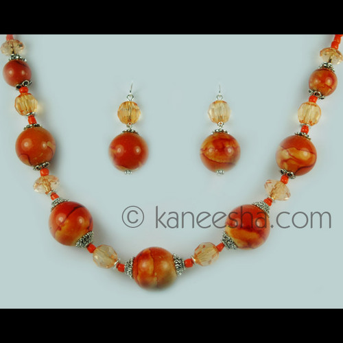 Orange Beaded Romantic Single Necklace Set
