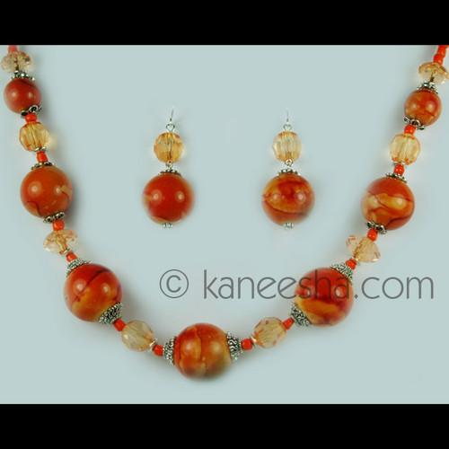 Orange Beaded Romantic Single Necklace Set