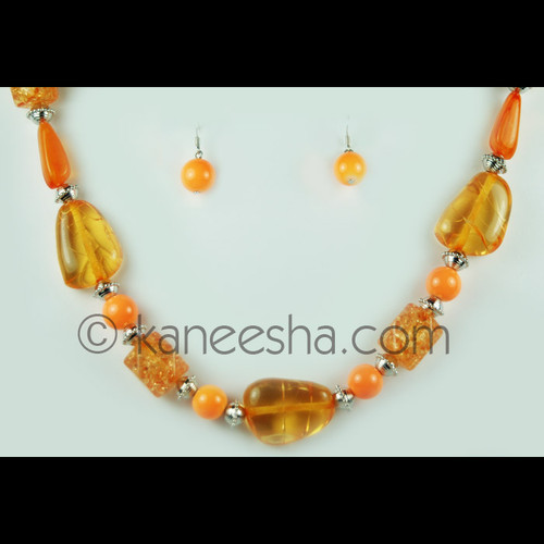 Orange Beaded Necklace Set