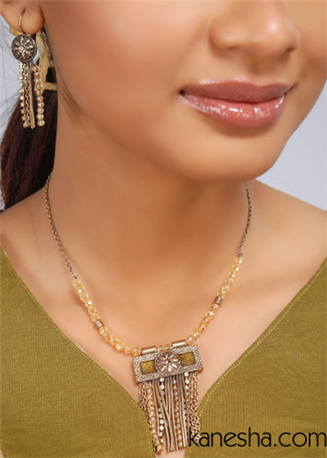 Golden Beaded Silvertone Necklace Set