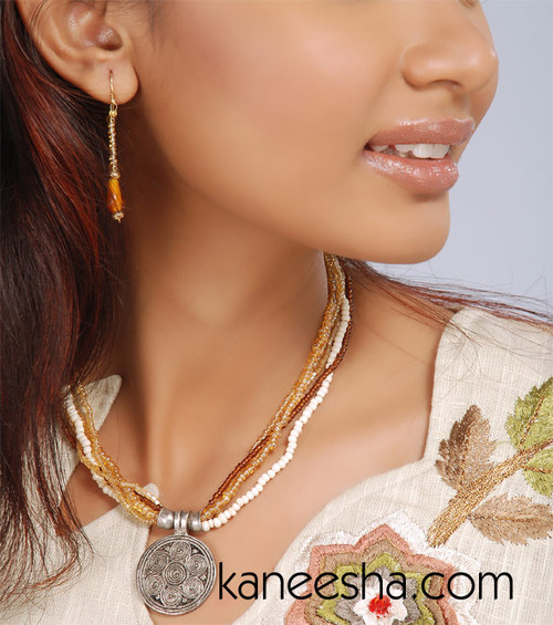 Brown Beaded Necklace Set