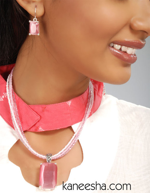 Pink Fashion Pendent Necklace Earrings