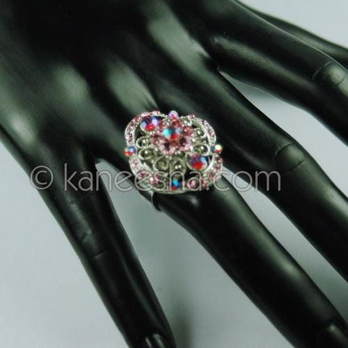Multi Color Silver Fashion Ring