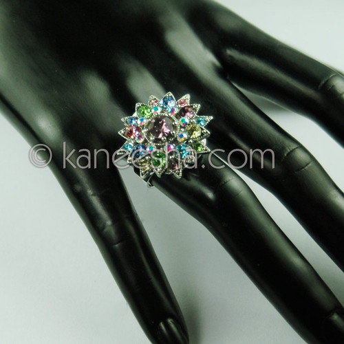 Silver Fashion Ring with Multi Color Faceted Stones