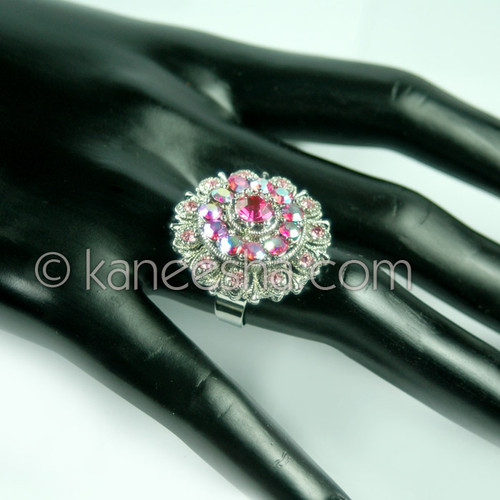 Hot Pink Silver Fashion Ring