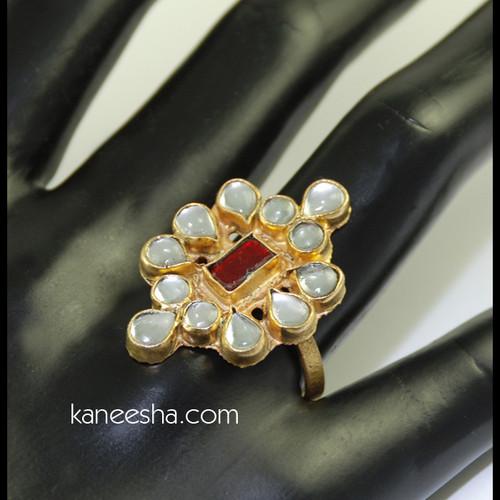 Gold Plated Kundan Ring