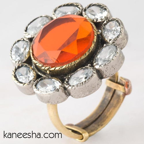 Indian Ring Studded with Transparent and Orange Stones