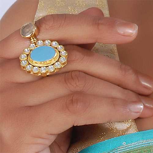 Traditional Ring Studded With Turquoise Stone