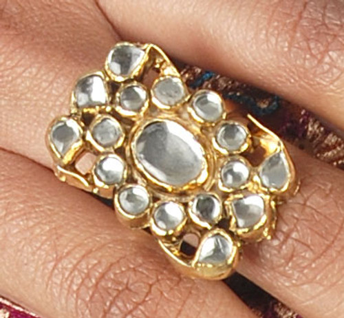 Traditional Golden Kundan Ring