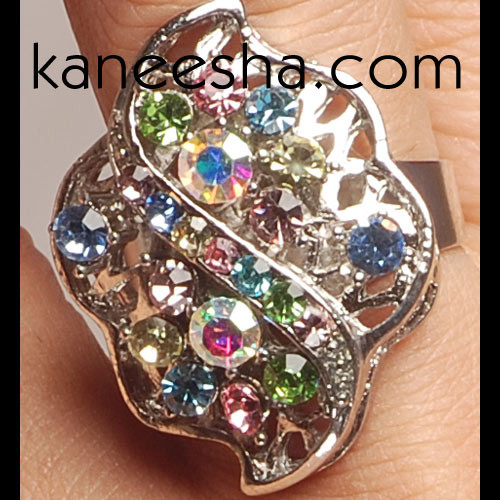 Multi Color Stone Studded Silver Fashion Ring