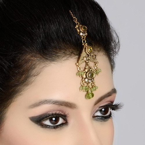 Antique Gold Polished Green Maang Tikka