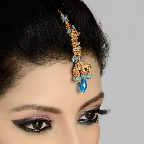 Gold Polished Turquoise Forehead Tikka