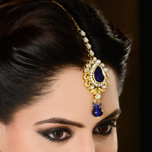 Blue Color Diamond Headpiece Tikka for Indian Bridal