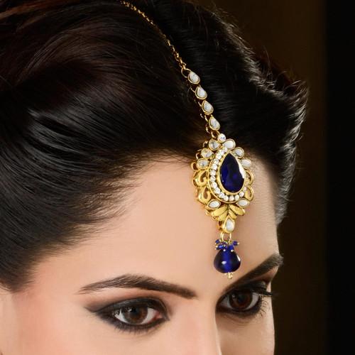 Blue Color Diamond Headpiece Tikka for Indian Bridal