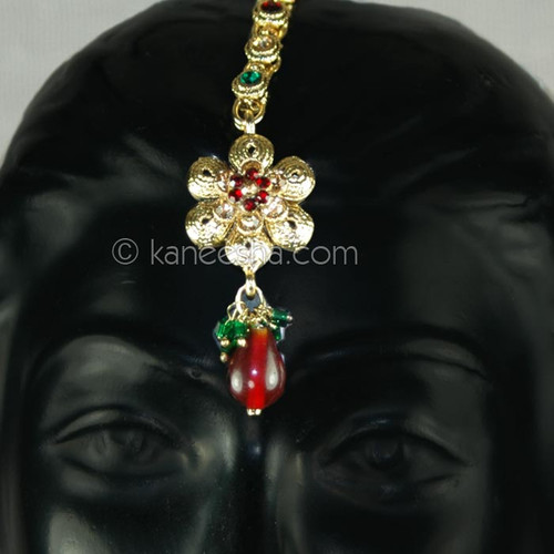 Goldplated Embossed Red and Green Headpiece Tikka