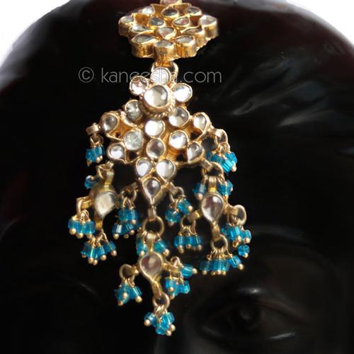 Turquoise Kundan Headpiece (Tikka)