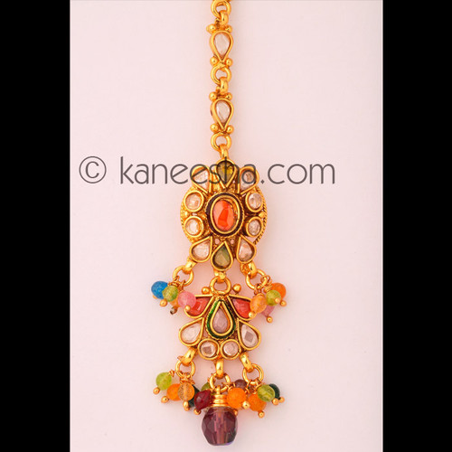 Multicolor Goldplated Headpiece Tikka