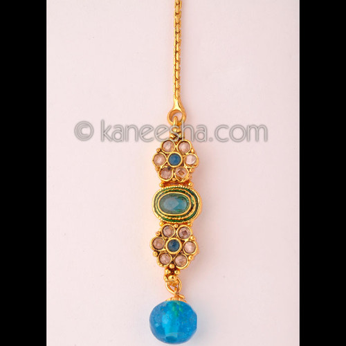 Goldplated Turquoise beaded headpiece tikka