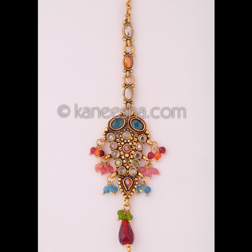 Multicolor Goldplated Maang Tikka