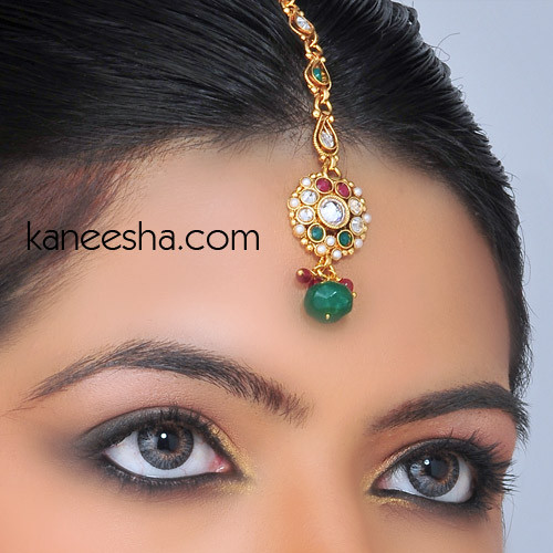 Gold Plated Headpiece Tikka Jewelry