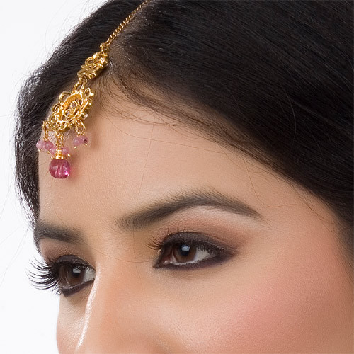 Goldplated Pink Beaded Headpiece Tikka