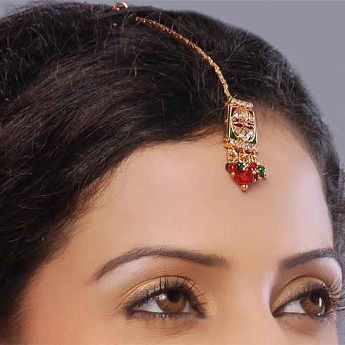 Red/Green Polki Gold Plated Headpiece Tikka