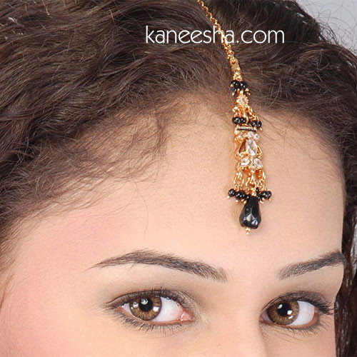 Black Goldplated Polki Headpiece Tikka