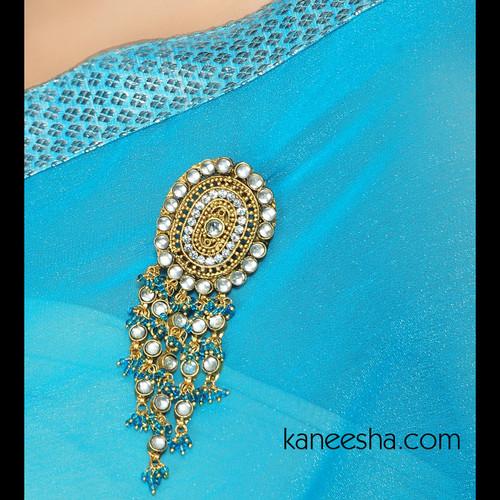 Kundan Gold Plated  Sari Pin
