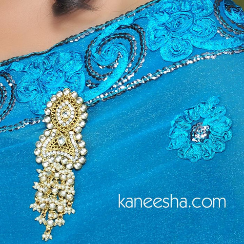 Faux Pearl Gold Plated Sari Pin
