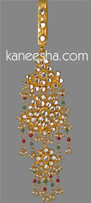 Red Gold Plated Kundan Keychain India Sari Zuda