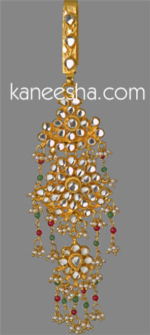 Red Gold Plated Kundan Keychain India Sari Zuda