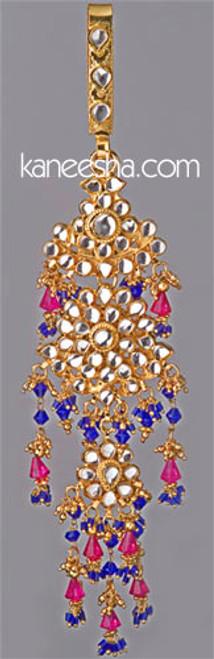 Blue/Pink Decorative Kundan Keychain