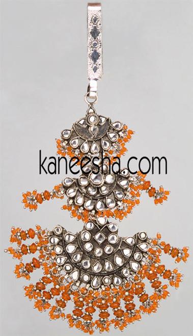 Decorative Rhodium Polish Kundan Keychain