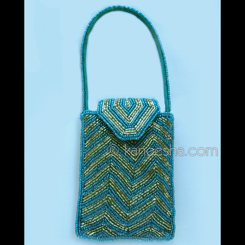 Gold/Turquoise Hand Embroidered Cell Phone/Iphone/Coin Purse