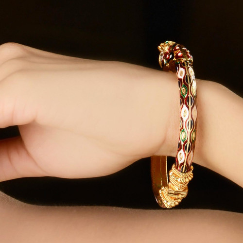 Gold Plated Enameled Bangle