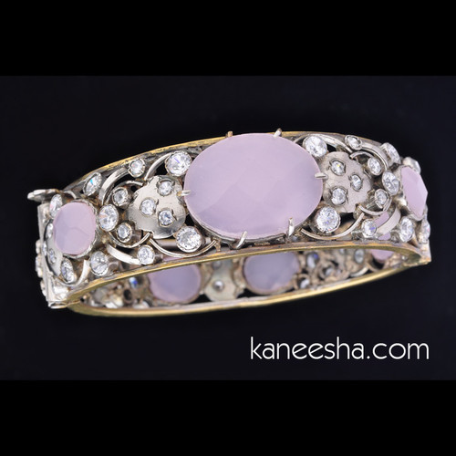 Cubic Zircon Light Purple Studded Bangle Bracelet