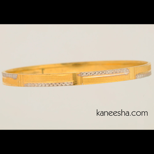 Suave Gold Plated Bangle Bracelet Studded with Glossy Stones