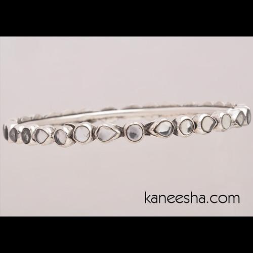 Stylish Bangle Bracelet Encrusted With Glossy Stones