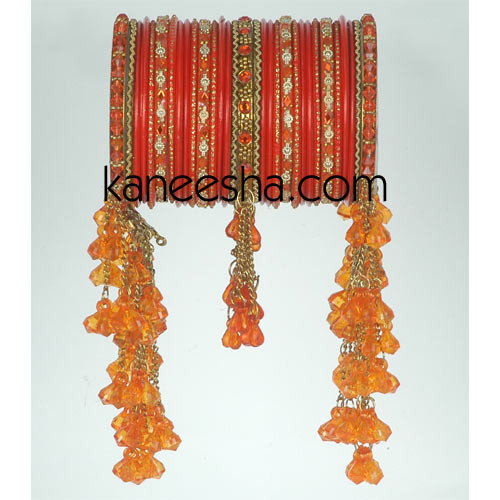 Orange & Golden Traditional Fashion Bangles