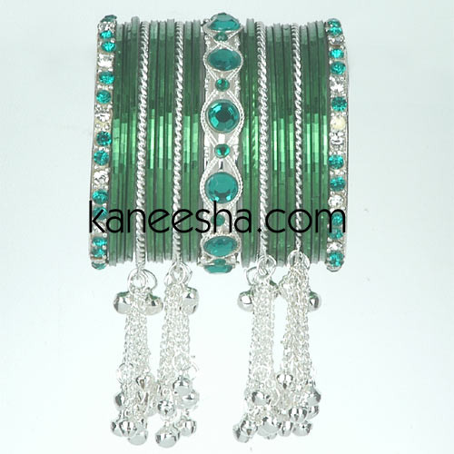 Green/Silver Traditional Fashion Bangles