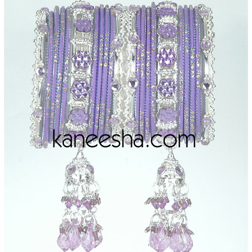 Purple/Silver Traditional Indian Fashion Bangles