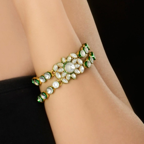 Gold Plated Kundan Bracelet Jewellery