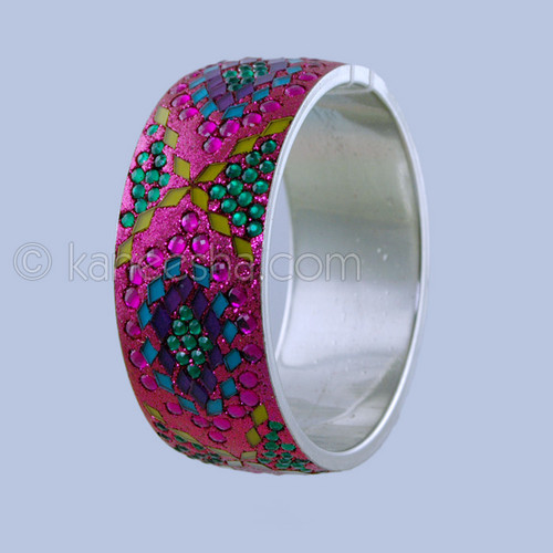 Cerise & Coral multiple Enamel Bangle Bracelet