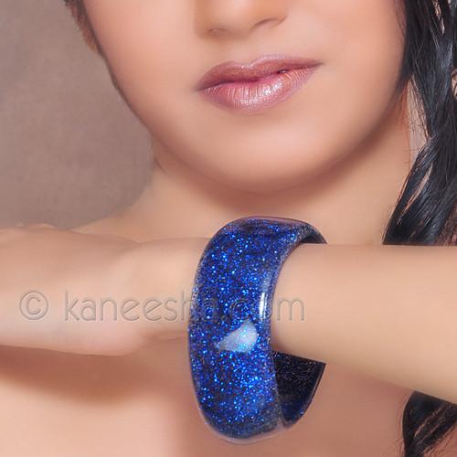 Blue Silver Glass Bangle