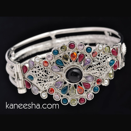 Multicolor Stone Studded Silver Bangle Bracelet