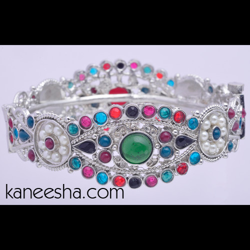 Multicolor Stone Studded Bangle Bracelet
