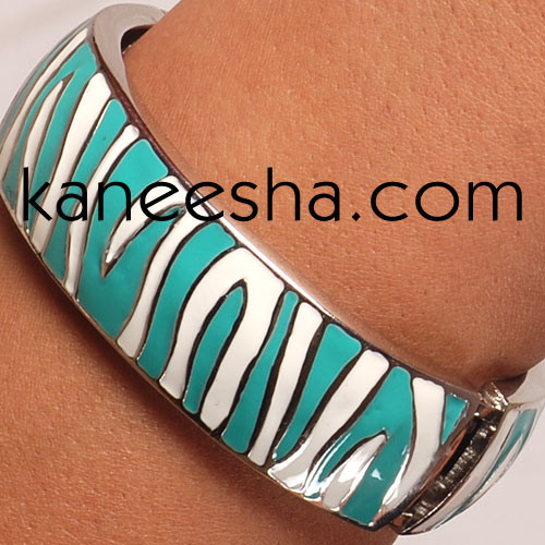 Zibra Print Enamel Bangle Bracelet Women Jewelry