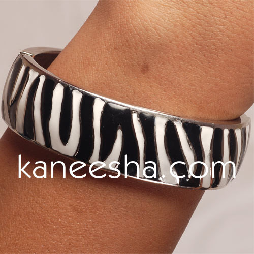 Zibra Print Enamel Bangle Bracelet